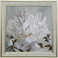 "37"" Square 1 White and Gold Peonies Gel Framed Print"
