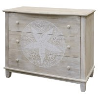 "40"" Antique White Finish 3 Drawer Sanddollar Cabinet"