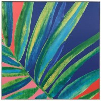 "36"" Square Multicolored Frond Gel Framed Print"