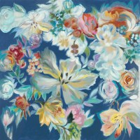 "50"" White and Multicolored Flowers On Blue Canvas"