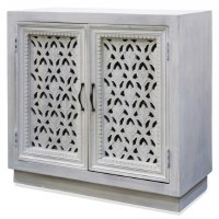 "36"" White Washed 2 Openwork Door Cabinet"