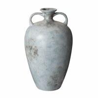 "20"" Antique Blue Finish Ceramic Vase With Two Handles"