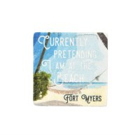 "2"" Square Fort Myers Pretend To Beach Magnet"