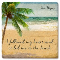 """4"""" Square Fort Myers Heart To Beach Coaster"""