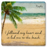"4"" Square Naples Heart To Beach Coaster"