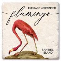 "4"" Square Sanibel Island Embrace Inner Flamingo Coaster"