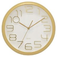 """13"""" Round Matte Gold Clock"""