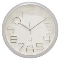 """13"""" Round Matte Silver Clock"""
