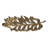 "19"" Gold Frond Metal Tray"
