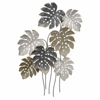 "42"" Silver and Gold Tropical Leaf Metal Plaque"