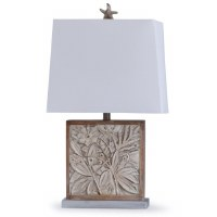 "28"" Antique White Finish With Leaves and Starfish Finial Table Lamp"