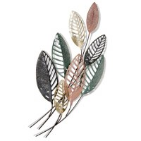 "48"" Rose Gold, Verdigris and Black Leaves Wall Plaque"