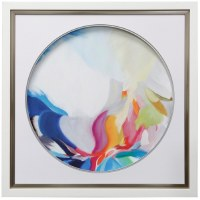 "34"" Square Multicolored Abstract In Circle 1 Framed"