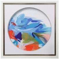"34"" Square Multicolored Abstract In Circle 2 Framed"