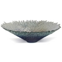 "20.5"" Blue Iridescent Round Glass Bowl"