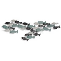 "56"" Multicolored Fish Metal Wall Plaque"