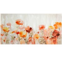 "28"" x 56"" Orange and Pink Floral Canvas"