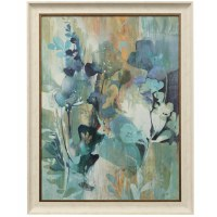 "46"" x 36"" Aqua and Blue Gel Flowers Framed Print"