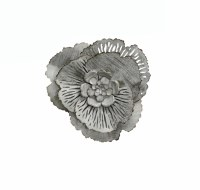 Medium Round White Gray Metal Flower Wall Plaque