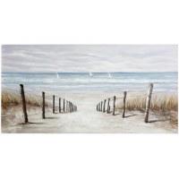"28"" x 55"" Beach Path With Sailboats Canvas"
