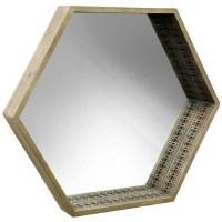 "27"" Wooden Hex Mirror"