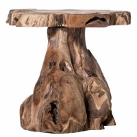 "20"" Round Brown Trunk Wooden Stool"