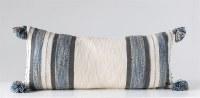 "16"" x 36"" Cream, Blue and Gray Stripe Pillow"