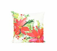"18"" Square Red Poinsettia Pillow"