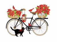 "19"" x 24"" Red Poinsettia In Bike With Cat Pillow"