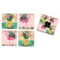"Set of 4, 4"" Pineapple and Flamingo Coasters"
