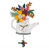 "17"" White Watering Can Wall Clock"