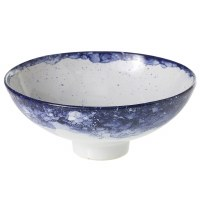 "9"" Round Dark Blue and White Footed Ceramic Bowl"