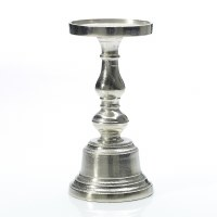 "9"" Silver Metal Pillar Candle Holder"