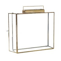"14"" Flat Square Glass and Brass Lantern"