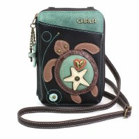 "8"" Black Turtle Crossbody Wallet"