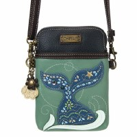 "8"" Teal Mermaid Dazzled Cell Crossbody Purse"