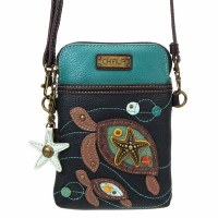"""8"""" Navy Two Turtle Cell Crossbody Purse"""