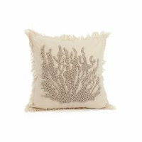 "17"" Beige Embroidered Coral Pillow"