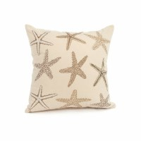 "17"" Square Beige and Taupe Starfish Pillow"