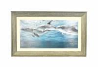 """34"""" x 16"""" Three Dolphins Gel Framed"""