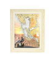 "28"" x 21"" Estero Bay Map Gel Framed"