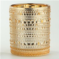 "4.5"" Gold Textured Glass Votive Candle Holder"