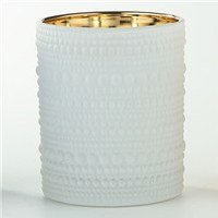 "4.5"" White Textured Glass Votive Candle Holder"
