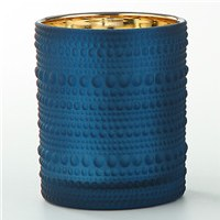 "4.5"" Navy Textured Glass Votive Candle Holder"