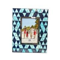 "4"" x 6"" Blue Glass Triangles Frame"