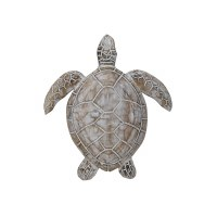 """11"""" White Washed Turtle Wooden Wall Plaque"""