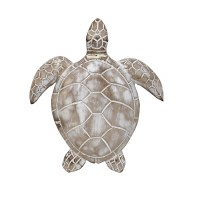"""9"""" White Washed Turtle Wooden Wall Plaque"""