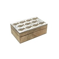"3"" x 6"" Small White Washed and Brown Wooden Fish Box"