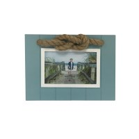 "5"" x 7"" Teal and White Rope Knot Frame"
