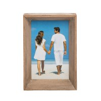 """4"""" x 6"""" White Washed Brown Wooden Frame"""